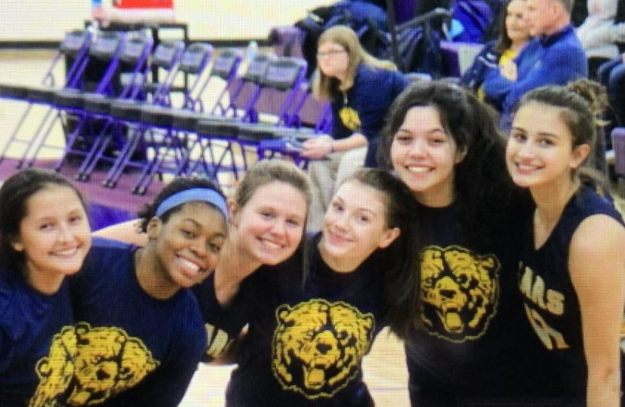 From left to right Seniors Alaina Jacobs,  Shantynae At-Water Boyd, Olivia Harder, Katelyn Bezzo, Elisia Gonzalez, Hanna Exner stand on the court during a Basketball game in the 19-20 school year.