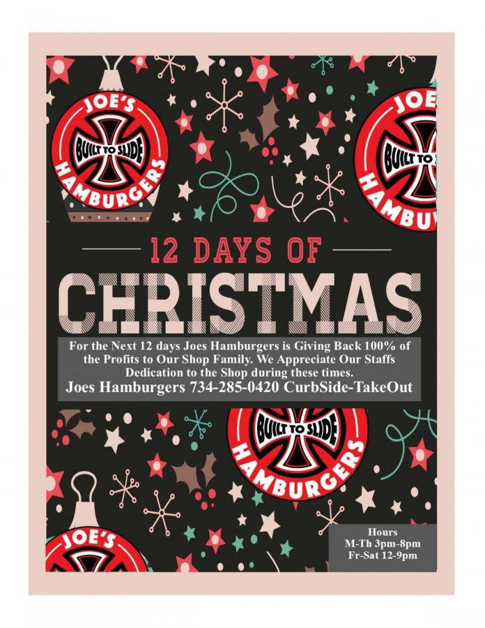 Joes+Hamburgers+promotional+image+for+the+12+Days+of+Christmas-+giving+back+the+profit+to+their+employees.
