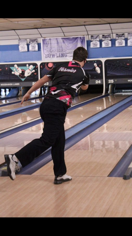 Vernier stares down the lane waiting to see where his ball will hit.
