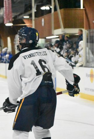 Then junior Ray Isham wears a jersey sponsored by Wyandotte Tees during the You Matter game held during the 2019-2020 season.