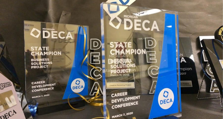 DECA State plaques from last year for Career Development Conference.