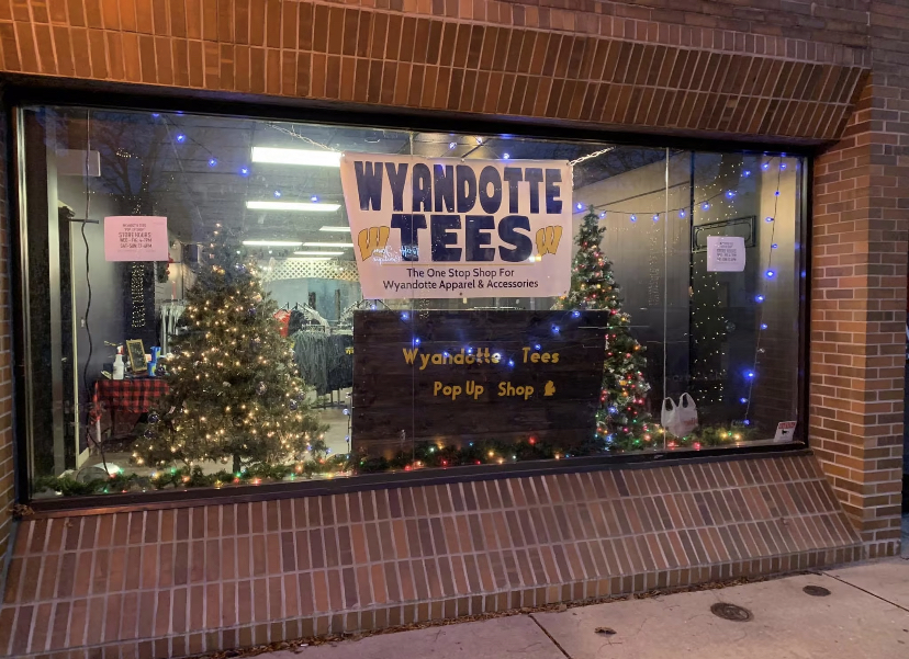 The+window+display+at+the+Wyandotte+Tees+holiday+pop-up+shop.