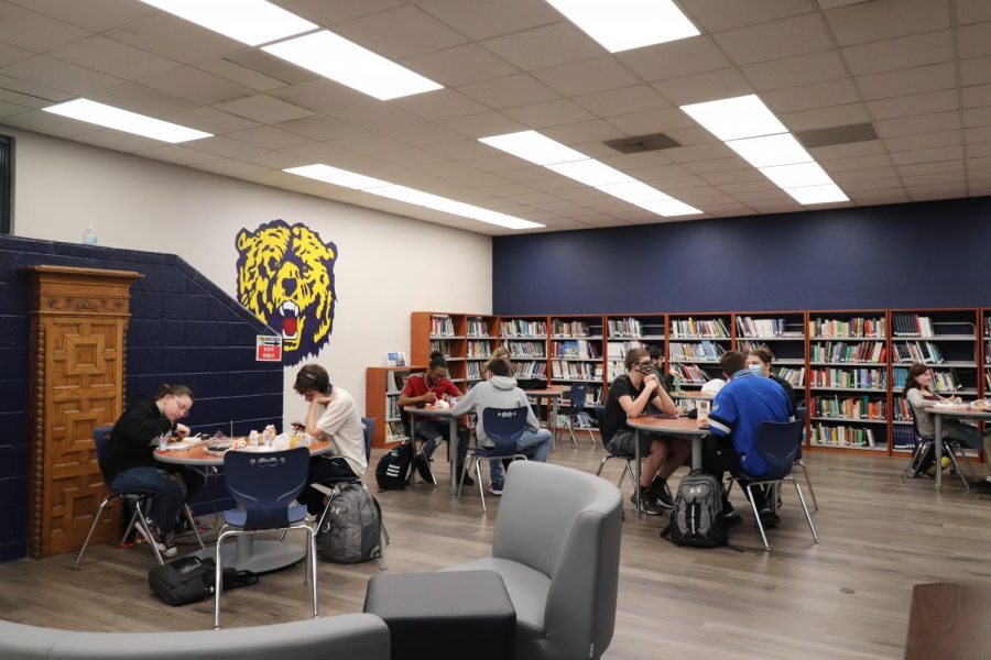 A lunch eating in the new senior lounge.
