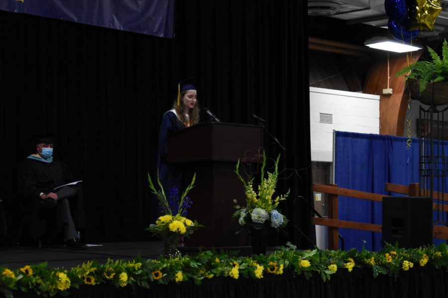 Salutatorian Addison Tracy gives an emotional speech about her time spent at RHS.