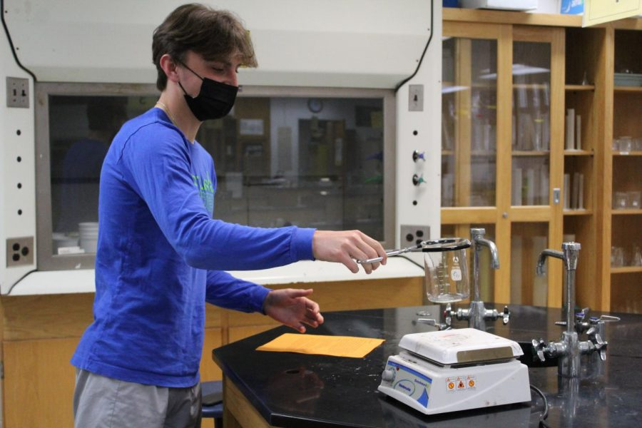 Sophomore class president Jack Vaduva excelling during lab.