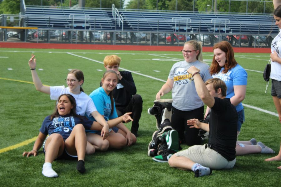 Here Link Leaders played a game to see who could stack their shoes the highest. Link Crews May Play Day happened on the field on Friday, June 4. The 2021-22 Link Leaders played games to develop the skills this need to be effective Link Leaders.