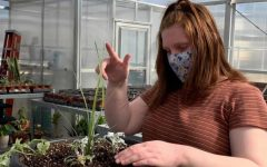 Ray practicing her gardening skills for the hands on portion of the exam.