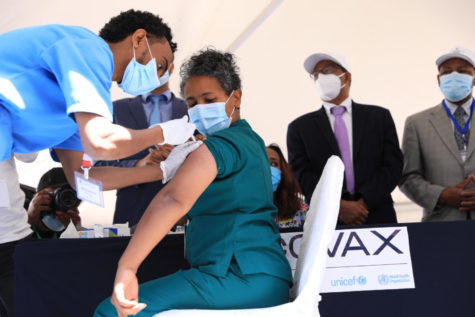 Health care worker receives her COVID-19 Vaccine during the uncief Ethiopia clinic.